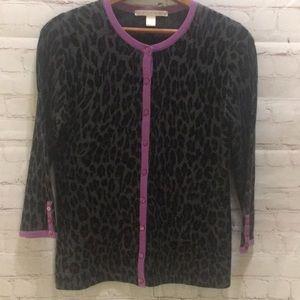Belford cashmere cardigan leopard print small